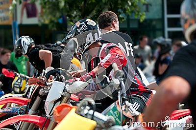 Motorbike Parade start Editorial Stock Image