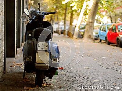 Motorbike parked on street