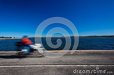 Motorbike Speed Blur Lagoon Road