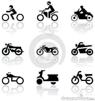 Motorbike symbol vector set.