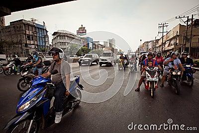 Motorbike traffic in Bangkok Editorial Stock Photo