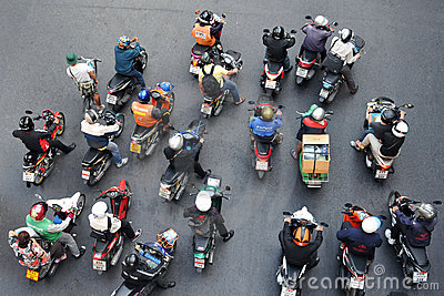 Motorbikes at a Junction in Bangkok Editorial Photography