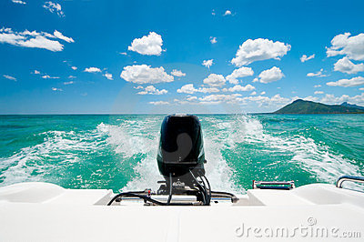 Motorboat in caribbean ocean