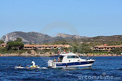 Motorboat In Golfo Di Marinella, Sardinia Editorial Image