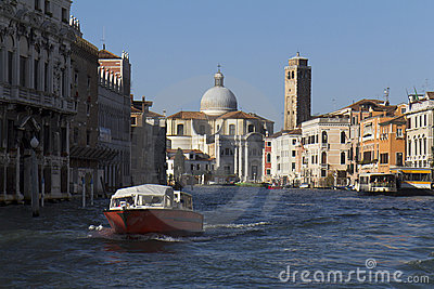 Motorboat on the Grand Canal Editorial Stock Image