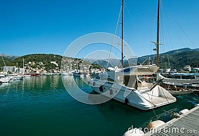 Motorboat at marina Majorca Balearic islands Spain