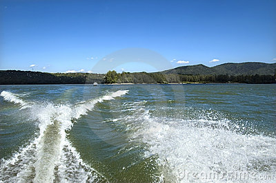 Motorboat splash and wake