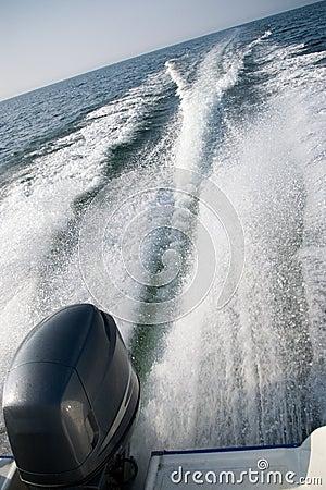 Motorboat wake