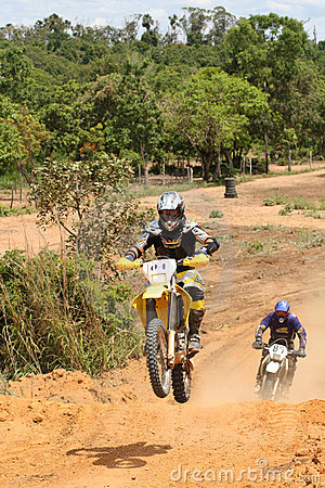 Motorcross Rider on Motorcycle In Race