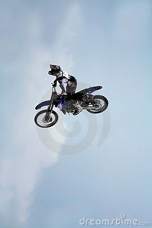 Motorcycle in the air