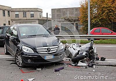 Motorcycle crash Editorial Photography