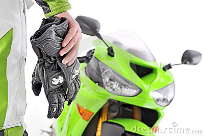 Motorcycle gloves with carbon and bike