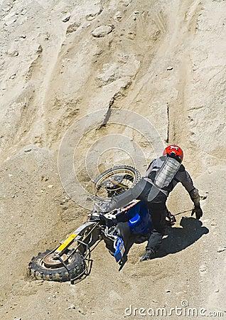 Motorcycle hill climb crash