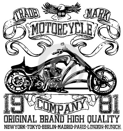 Free Motorcycle Label T-shirt Design With Illustration Of Custom Chop Stock Photos - 67440123