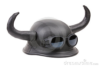 Motorcycle leather helmet with funky horns