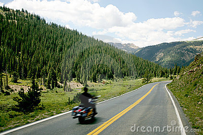 Motorcycle on Mountain Road