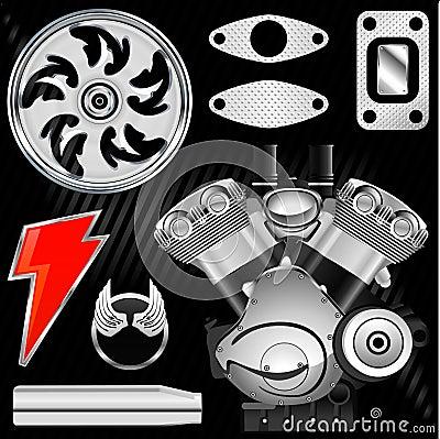 Motorcycle part set vector