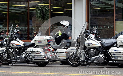 Motorcycle Police In Edmonton Editorial Stock Photo