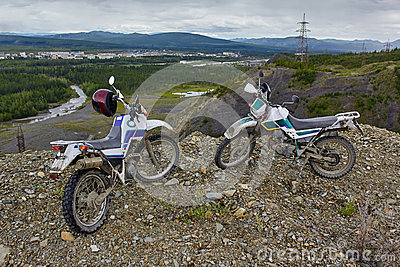 A motorcycle s Enduro on the brink of breakage, mountains. Susuman. Kolyma. IMG_2960