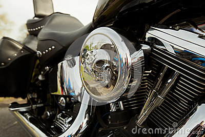 Motorcycle with skull detail
