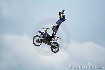 Motorcycle stunt acrobatics