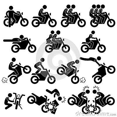 Motorcycle Stunt Man Daredevil People Stick Figure