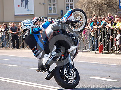 Motorcycle stunts, Lublin, Poland Editorial Stock Photo