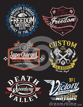 Free Motorcycle Themed Badges Royalty Free Stock Image - 33176656