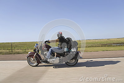 Motorcyclist with American flag bandana Editorial Stock Image