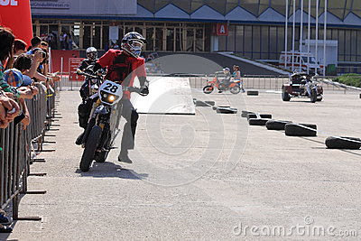 Motorcyclist on track Editorial Image
