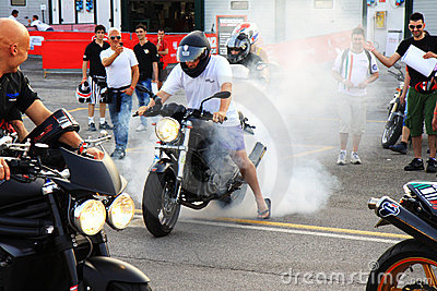 Motorcyclist at the World Ducati Week 2010 event Editorial Photo