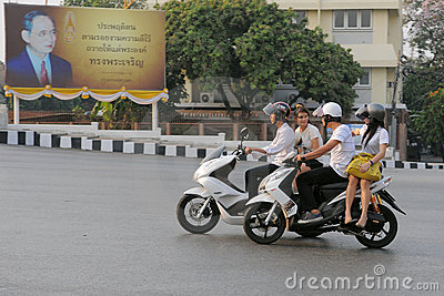 Motorcyclists in Bangkok Editorial Image