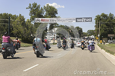 Motorcyclists entering Sturgis Editorial Photo