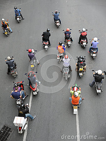 Motorcyclists Wait at a Junction Editorial Photography