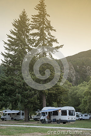 Motorhome campers at Lake Hawea Holiday Park, south island of New Zealand Editorial Stock Photo