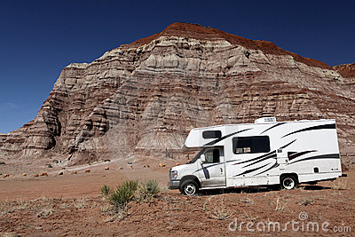 Motorhome In Desert Wilderness Royalty Free Stock Photo - Image: 19085135