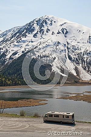 Motorhome and mountain