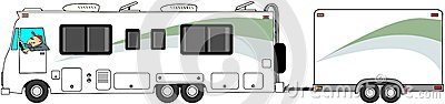 Motorhome towing cargo trailer