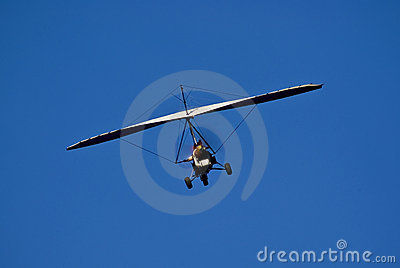 Motorized Hang Glider in Flight - Rear
