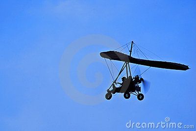Motorized Hang Glider in Flight - Side On