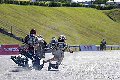 Motorscooter Accident at Race Editorial Image
