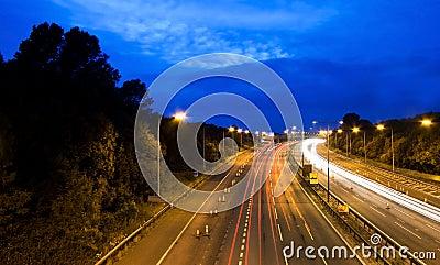 Motorway / highway at night