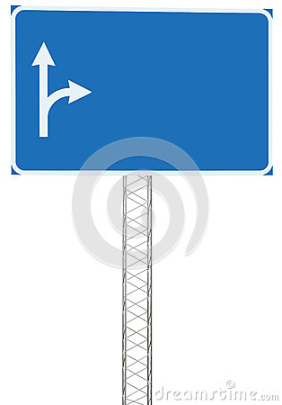Free Motorway Road Junction Driving Direction Info Sign Panel Signboard, Large Isolated Blank Empty Blue Copy Space Roadside Traffic Stock Photo - 78294490