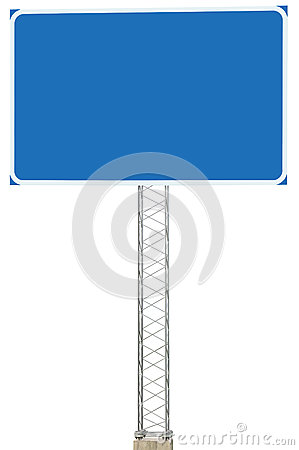 Free Motorway Road Junction Driving Direction Info Sign Panel Signboard, Large Isolated Blank Empty Blue Copy Space Roadside Traffic Royalty Free Stock Image - 78762656
