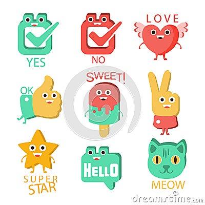 oui vote et bote word et illustration correspondante personnage de dessin anim emoji avec des yeux illustrant le texte illustration de vecteur image