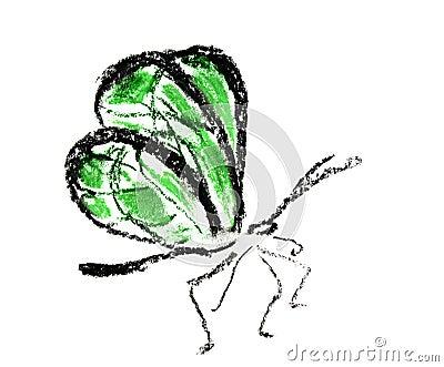 Motyla prosty zielony ilustracyjny