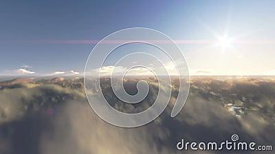 Mouche au-dessus des nuages et du ciel bleu banque de vidéos