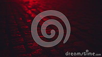 Mouillez illuminé par le pavé rond de lumière rouge pavant la rue la nuit banque de vidéos