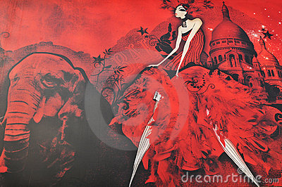 Moulin Rouge (detail) Editorial Image