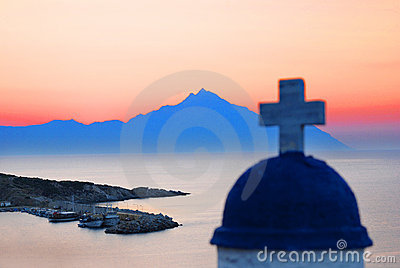 Mount Athos at sunrise